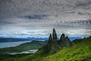The goal of our first walk on the Isle of Skye, the Old Man of Storr and the Storr itself, the highest point of the Trotternish Ridge with amazing panoramic views.
